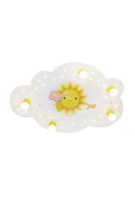 Plafondlamp wolk zon met bloem geel