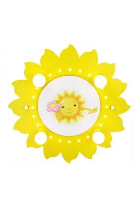 Plafondlamp Zon met bloem geel