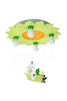 Plafondlamp kikker in zeilschip groen