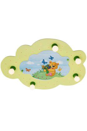 Plafondlamp wolk Teddybeer groen