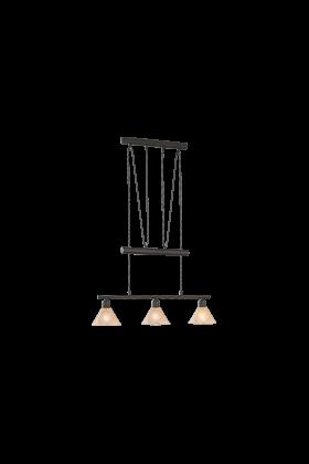 Trio pendel armatuur met 3 lampenkappen serie 3751 roestkleurig