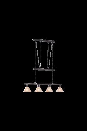 Trio pendel armatuur met 4 lampenkappen serie 3751 roestkleurig