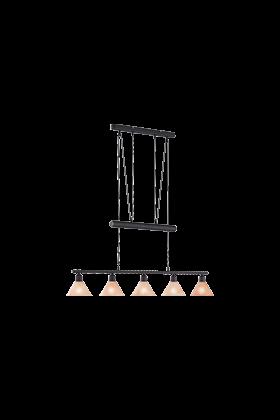 Trio pendel armatuur met 5 lampenkappen serie 3751 roestkleurig