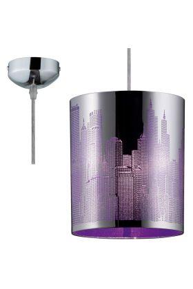 De City is een paars met chromen hanglamp met laser gesneden skyline. De lamp heeft een diameter van 20cm en is voorzien van een E27 fitting.