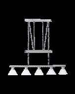 Trio pendel armatuur met 5 lampenkappen serie 3751 wit